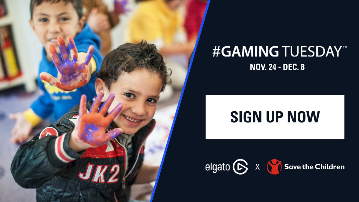ElgatoGaming - Interested in #GamingTuesday? There's still time to enter!  Together we can help @SaveTheChildren make a positive impact on the lives of children in over 100 different countries.💙  Sign Up: