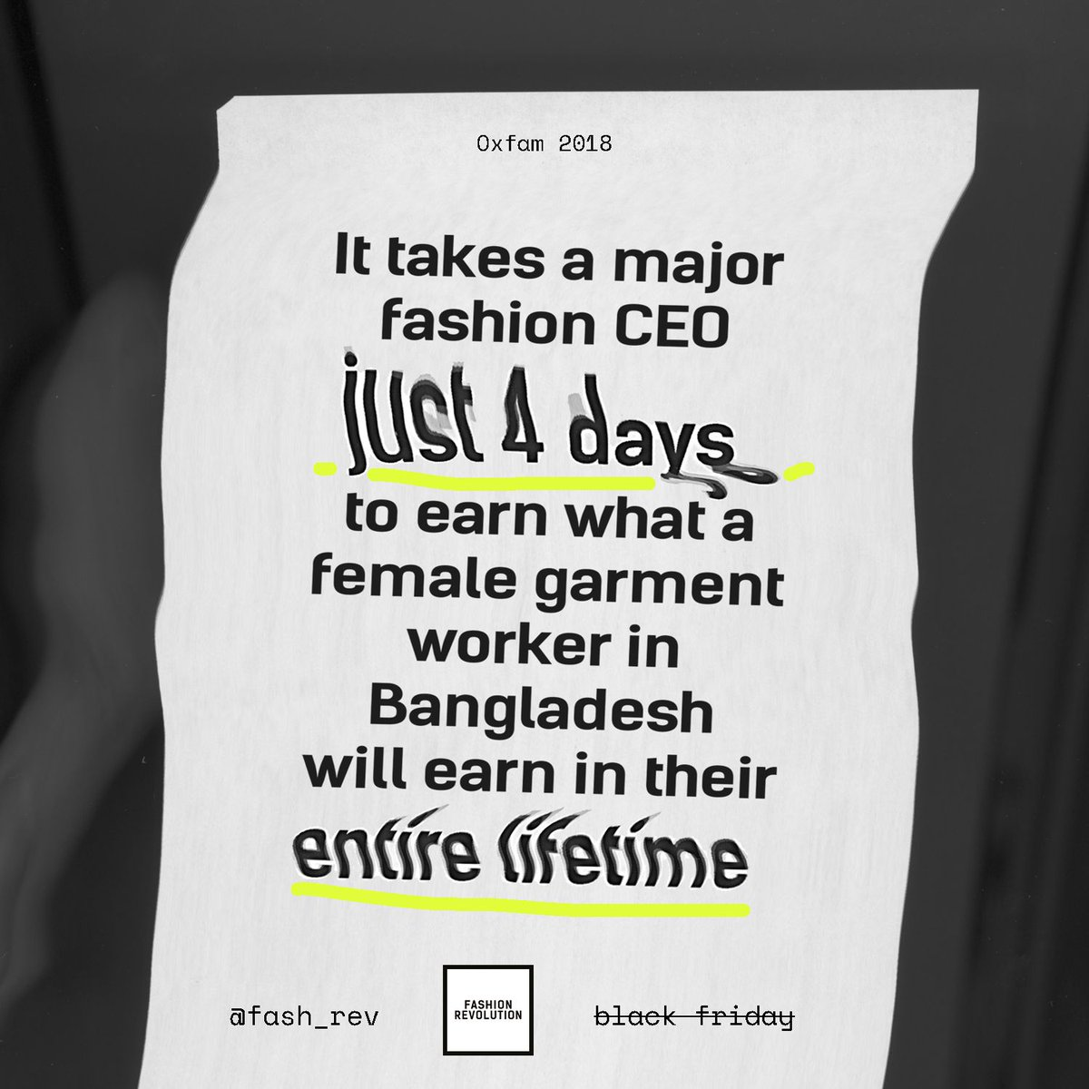 Before going #BlackFriday shopping, remember that a CEO of a fashion brand takes four days to earn what a garment worker will make in her entire life. Ask brands #WhoMadeMyClothes and demand they take responsibility for the disparity.   👩💻: @Oxfam for @Fash_Rev