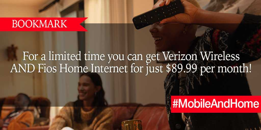 BOOKMARK: For a limited time you can get Verizon Wireless AND Fios Home Internet for just $89.99 per month! https://t.co/6vDFixDAdI #MobileAndHome #brandpartner https://t.co/Po8K6oNoaP