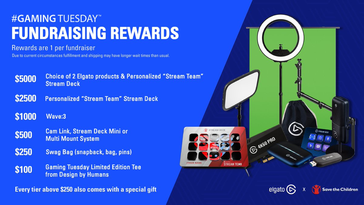 ElgatoGaming - Have you seen the rewards for creators fundraising towards @SaveTheChildren for #GamingTuesday?   There's also a surprise gift. 🎁👀