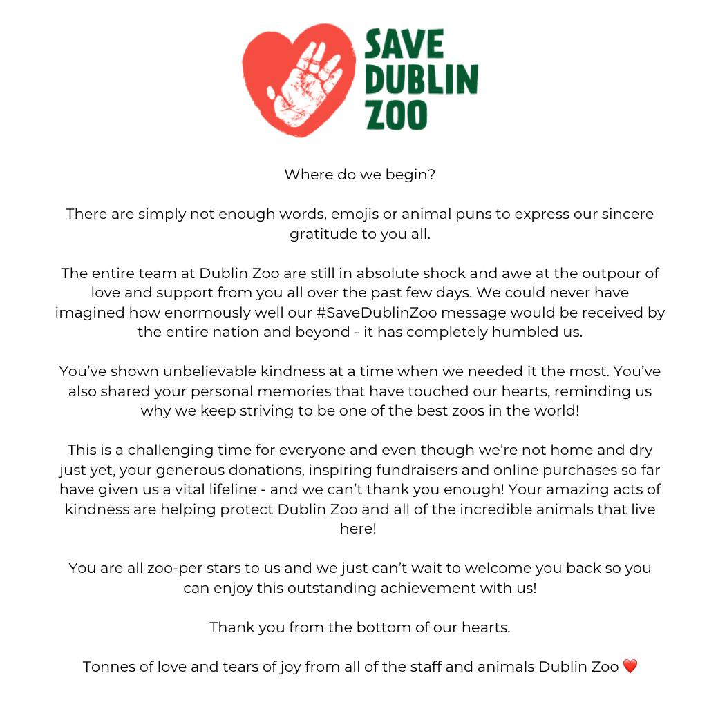 ❤ Save Dublin Zoo ❤   Tonnes of love and tears of joy from all of the staff and animals Dublin Zoo ❤ https://t.co/39nNbohDur