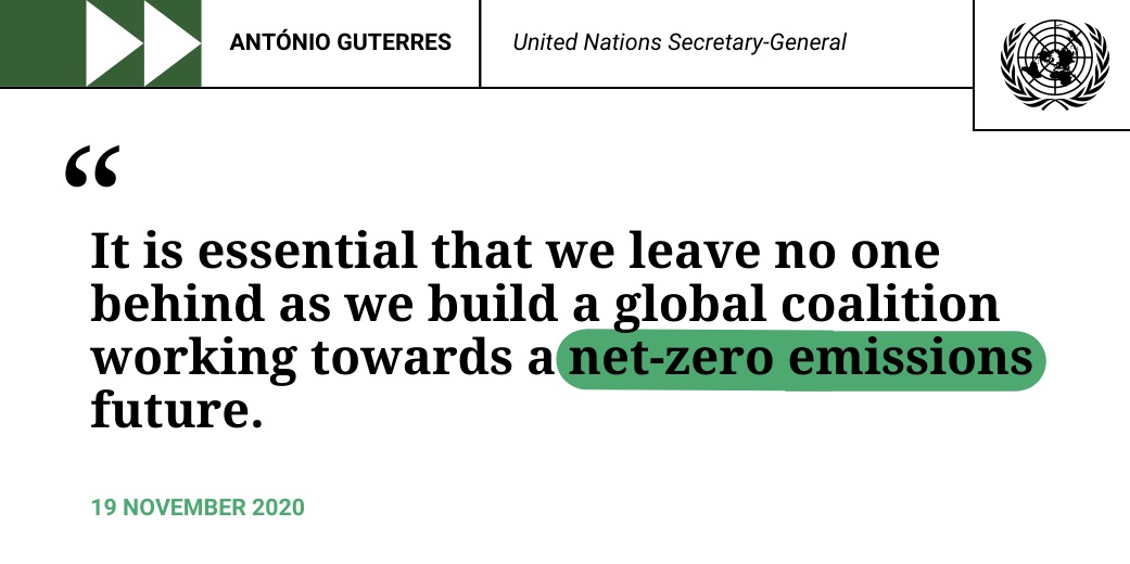 """We are still running behind in the race against time.  Every country, city, financial institution and company should adopt plans for transitioning to net zero emissions by 2050.""  -- @antonioguterres calls for urgent #ClimateAction."