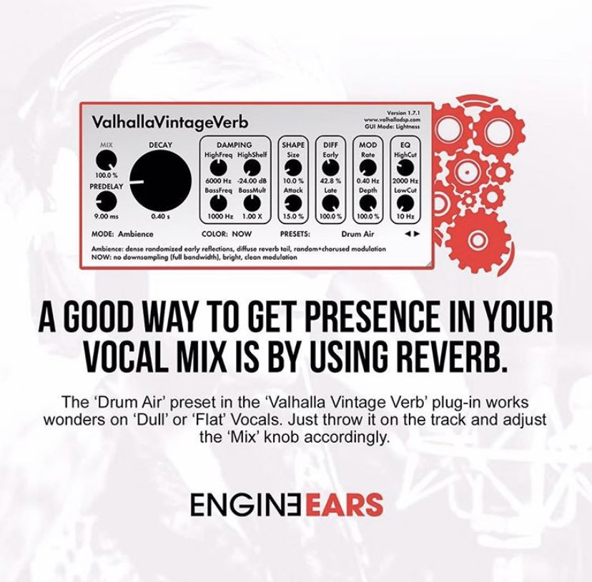 #EngineEarsQuickTip: The @valhalladsp Vintage Verb! What's a good reverb you've used on some of your cleanest vocal mixes ? #EngineEars #SeeingSounds
