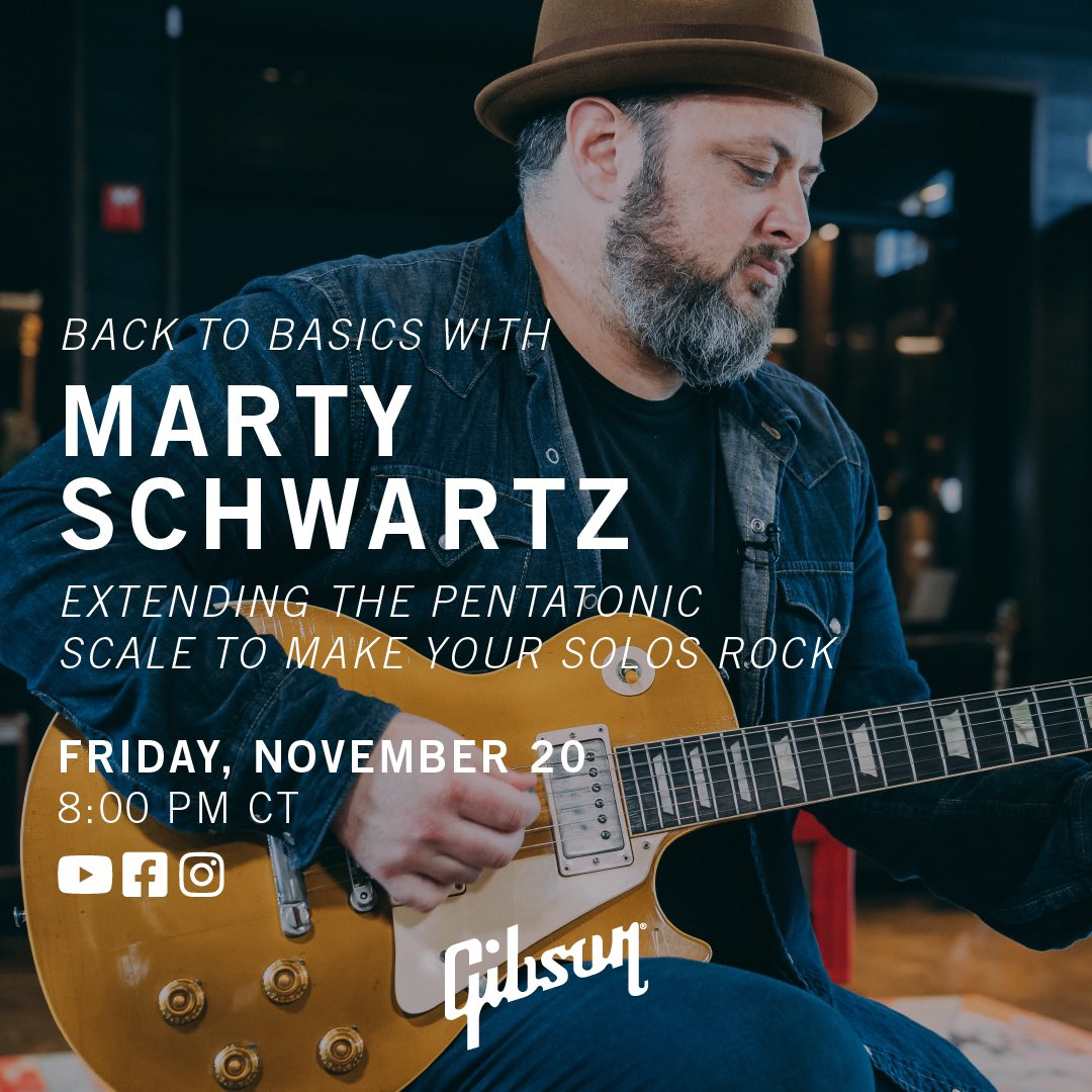 TONIGHT at 8:00pm CT we are going LIVE with @MartySchwartz on Gibson and getting Back To Basics: Extending The Pentatonic Scale to Make Your Solos Rock. Don't miss it! #gibson
