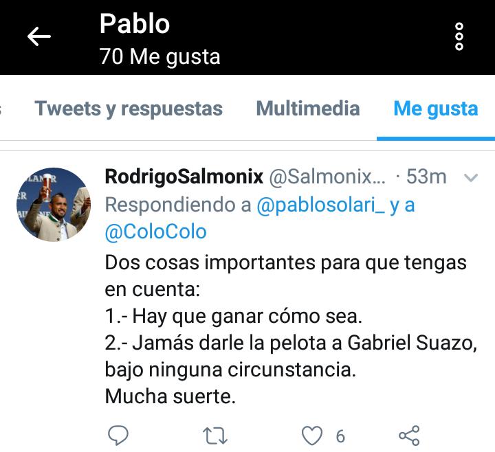 Jajajaj hermosos los tuits a los que le dio me gusta Pablo Solari. Arellanización completada https://t.co/YCvlQWgCah