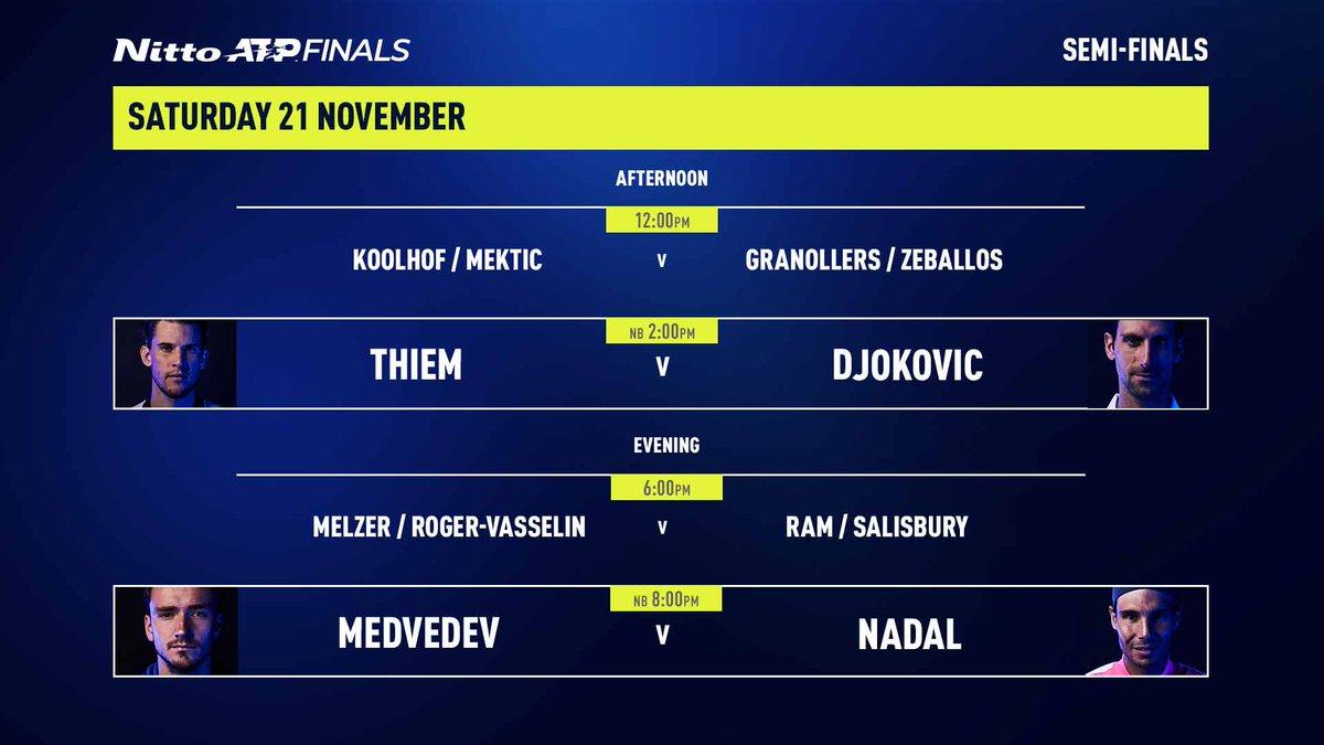 Semi-final Saturday is looking 🔥🔥🔥  #NittoATPFinals https://t.co/BpQF5BDceG