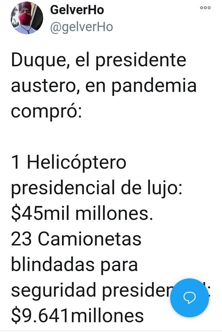 """@FNAraujoR Dígale a su presid' Que venda el helicóptero , las camionetas y tanquetas que compraron en pandemia plata si hay Para los pobres """"NO"""" #SOSchoco"""
