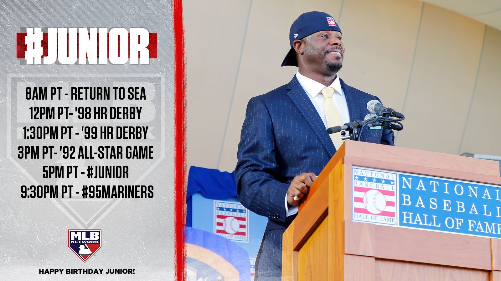 Happy Birthday to the !  We\re celebrating + legend Ken Griffey Jr. all day!