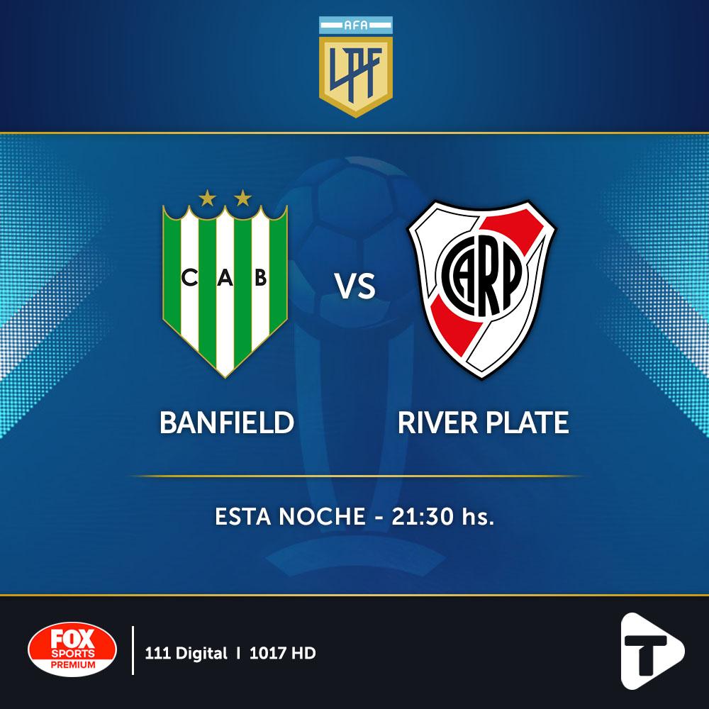 Banfield y River Plate se enfrentan hoy en un nuevo partido por la fecha 4 de la Copa de la Liga Profesional.  ⏰ 21:30 ⚽ Banfield vs River Plate  📺 Fox Sports Premium (canales 111 / 1017 HD)  ¿Ya activaste el Pack Fútbol? 👉 Envianos un WhatsApp al 11 6380 9500 📲 https://t.co/BSQo1vpmRI