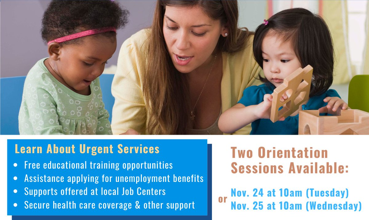 Are you a childcare worker affected by #COVID19? @LACity @LAEWDD @WeAreDace are hosting online orientations to connect you with urgent support and education opportunities! Sessions are at 10AM 11/24 & 11/25. Sign up: