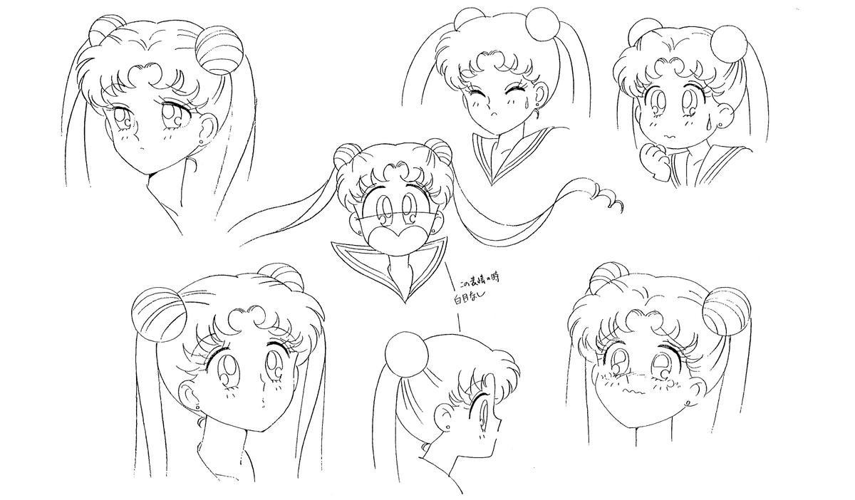 Model sheets from Sailor Moon (1992–1993), dir. Junichi Sato, Toei Animation Characters designed by Kazuko Tadano