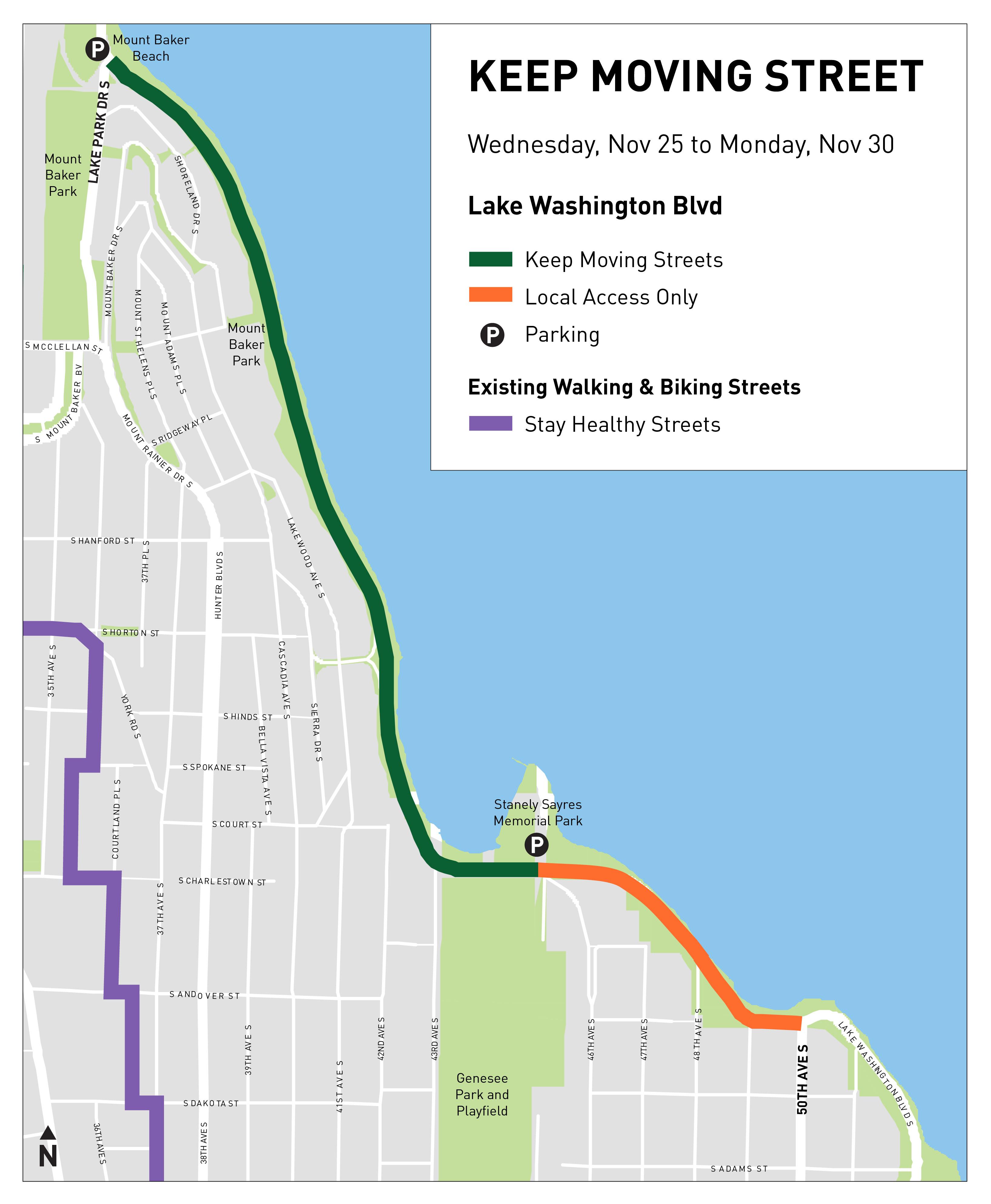 Lake Washington Blvd Reopens to walk/bike/rolling for Thanksgiving!