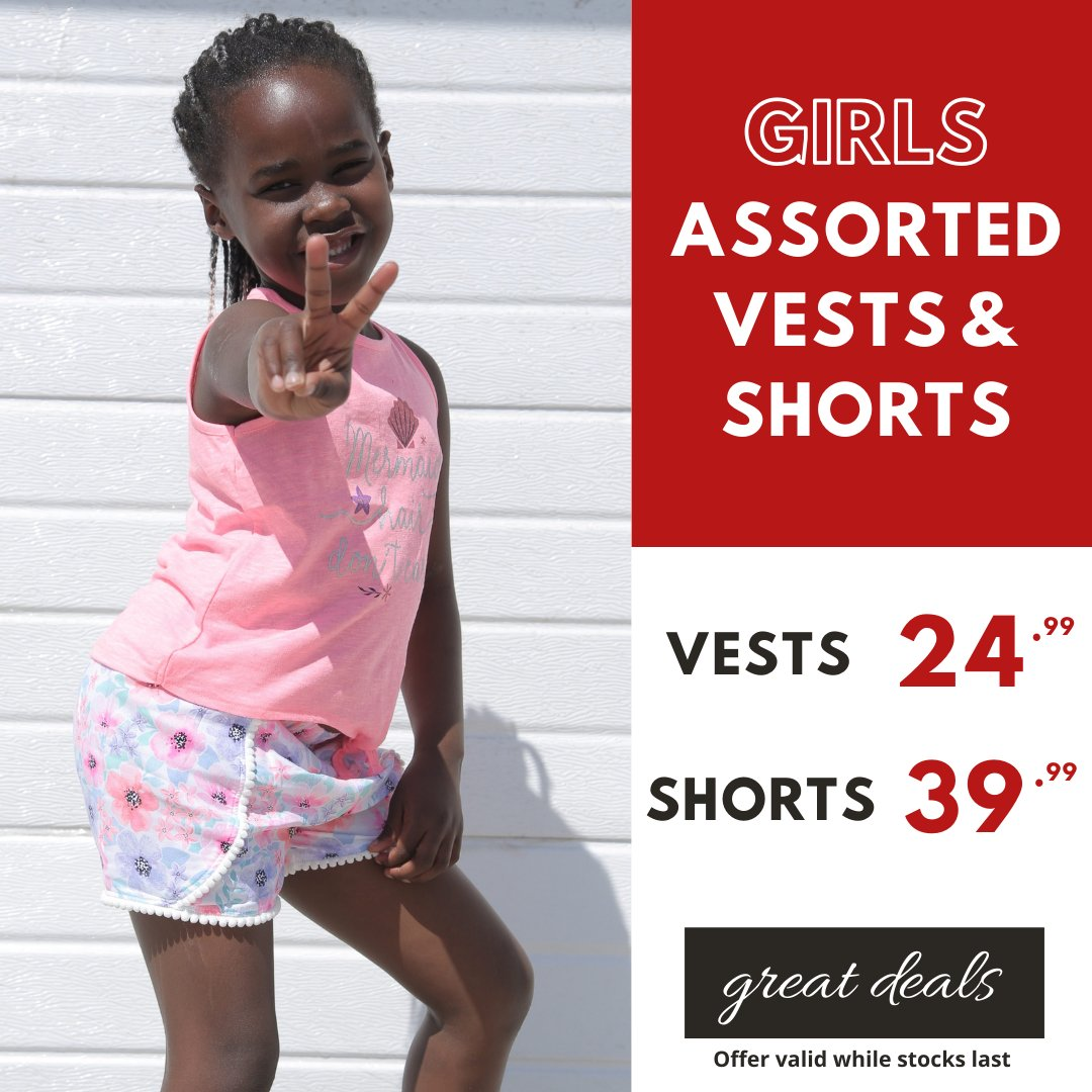 Summer fun with great deals at Choice... Girls Assorted Vests 24.99 and Frill Shorts only 39.99 Available in ages 2-8yrs at selected stores #choiceclothing #wearchoice #kidschoice #girlsshorts #girlsvests