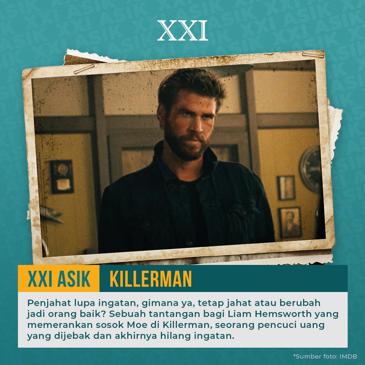 Apa jadinya kalau seorang penjahat lupa ingatan. Berubah baik atau tetap jahat ya?  Temukan jawabannya dalam film Killerman yang dibintangi oleh Liam Hemsworth. Cek  untuk info dan jadwal lengkapnya 😊