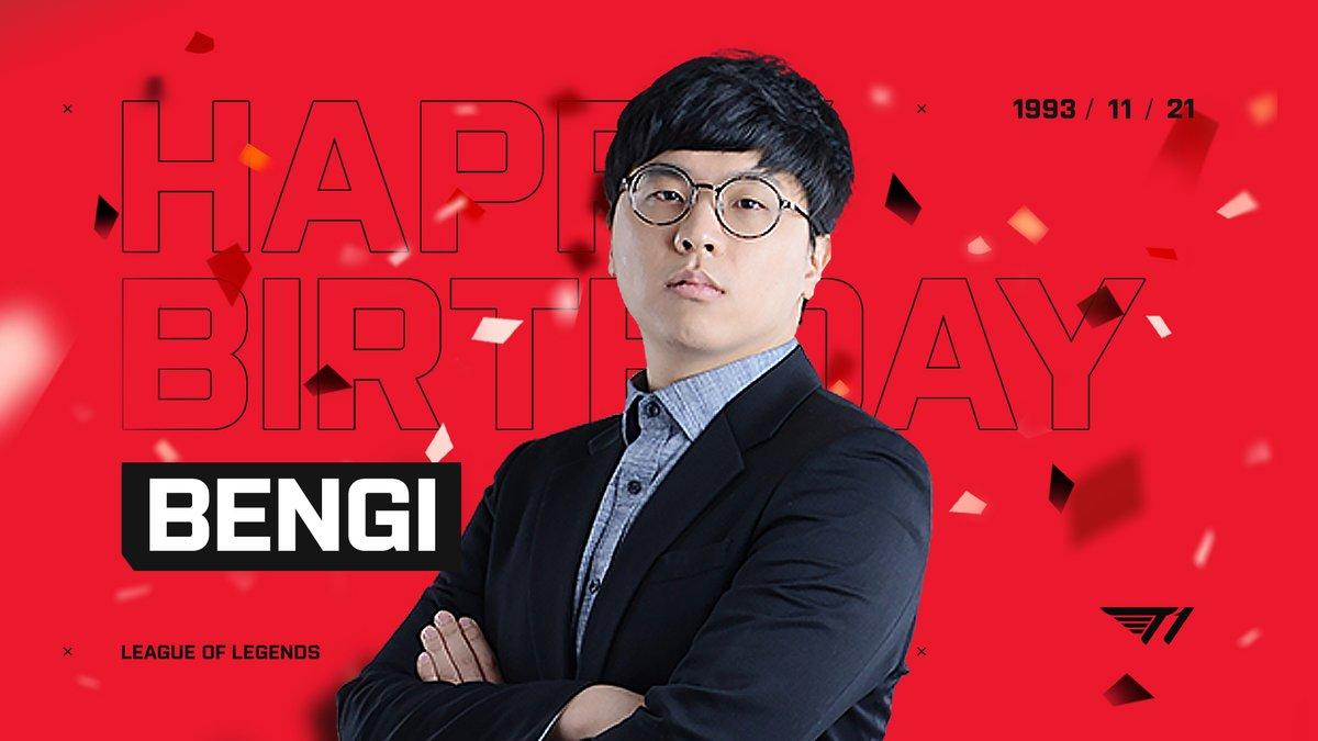 """lol_Khan - Happy Bengi Day! 🎂 #T1WIN ⠀ 11월 21일은 T1 @LeagueOfLegends 2군 감독이자 리빙 레전드이신 """"Bengi"""" 배성웅 감독님의 생일입니다! 🎉"""