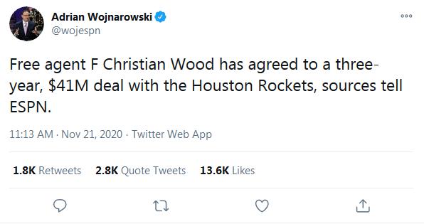 尼克又被截胡!火箭3年4100萬簽約Wood,後者將以先簽後換加盟休士頓!-籃球圈