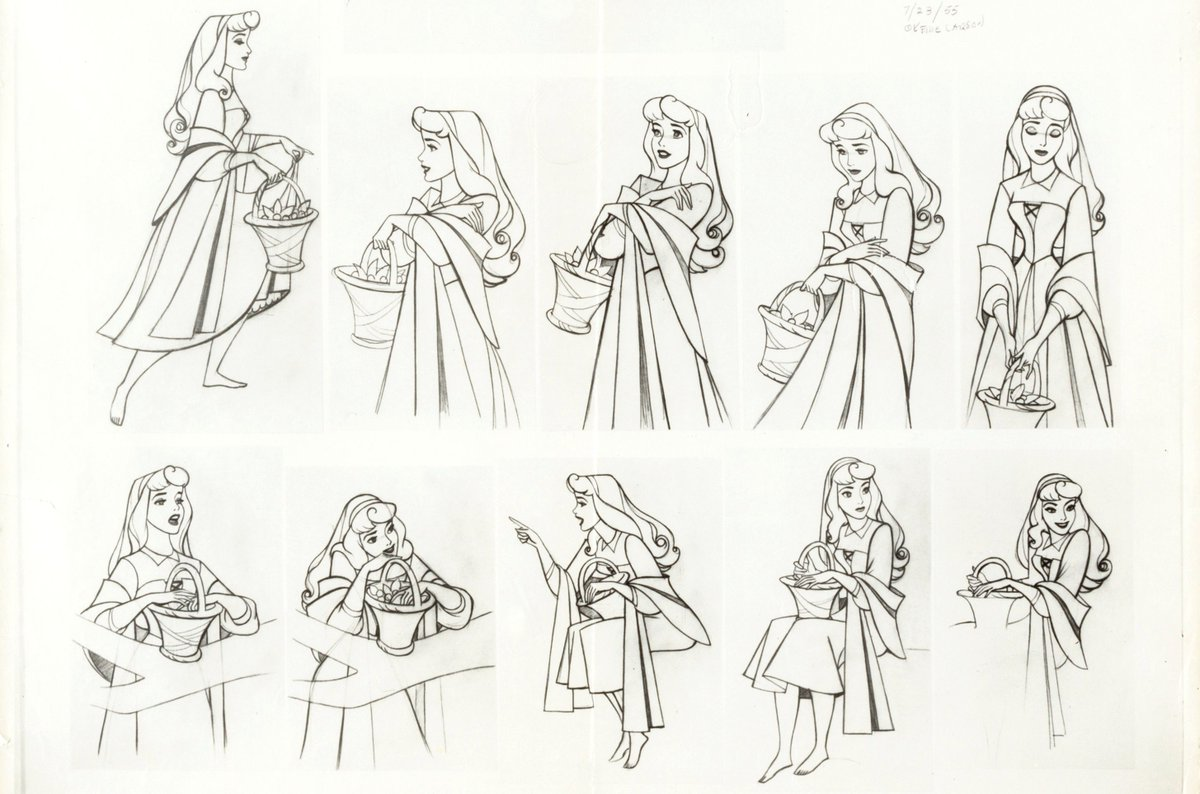 Detailed model sheets for Aurora from Sleeping Beauty (1959), dir. Clyde Geronimi, Walt Disney Productions