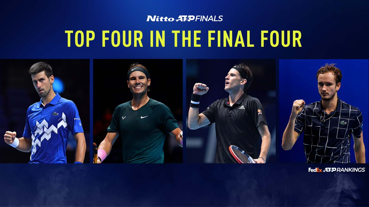 This hasn't happened at the #NittoATPFinals in 1️⃣6️⃣ years!  All four semi-finalists are in the Top 4 of the @FedEx ATP Rankings. https://t.co/uW3zNL6ZMm