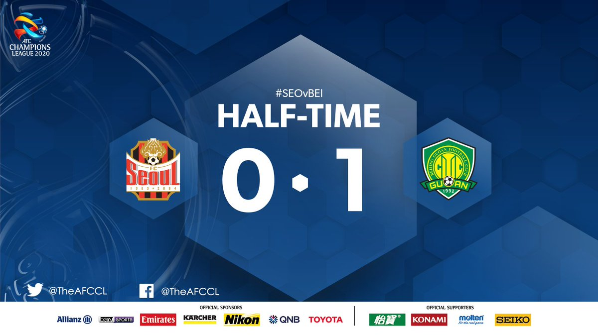 HALF-TIME | 🇰🇷 @FCSEOUL 0-1 Beijing Guoan 🇨🇳  1⃣🆙 Fernando's 8th minute strike has his side on top at the break. Can Seoul equalise in the second half or will Beijing increase their lead?  #FCSvBJG | #ACL2020