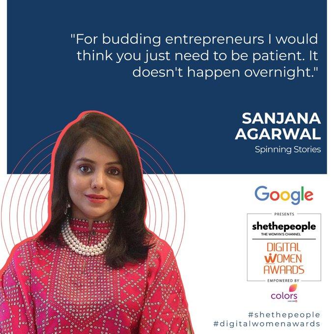 Sanjana Agarwal of Spinning Stories shares advice with budding entrepreneurs at #DigitalWomenAwards