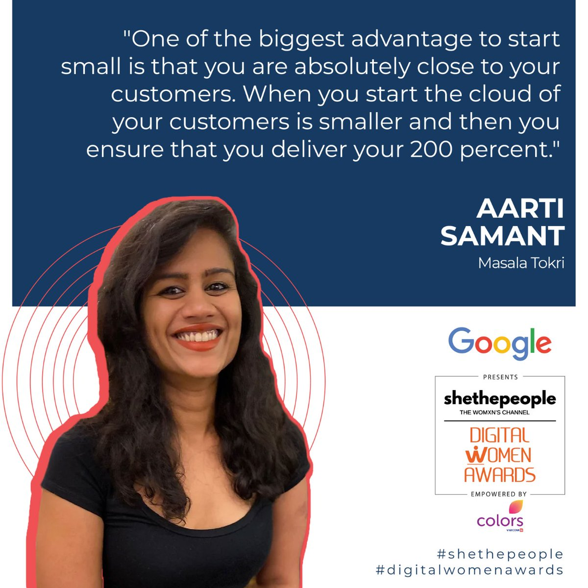 Aarti Samant at #DigitalWomenAwards talking about the benefits of starting small @poongsoong