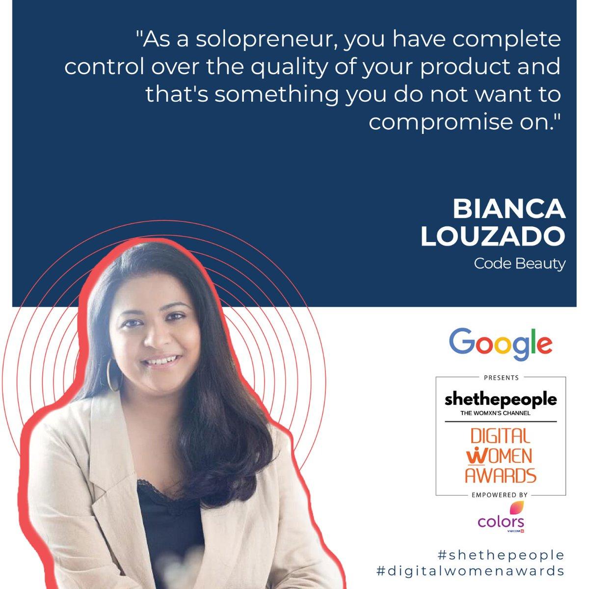 @BiancaLouzado at #DigitalWomenAwards talking about her solopreneur journey