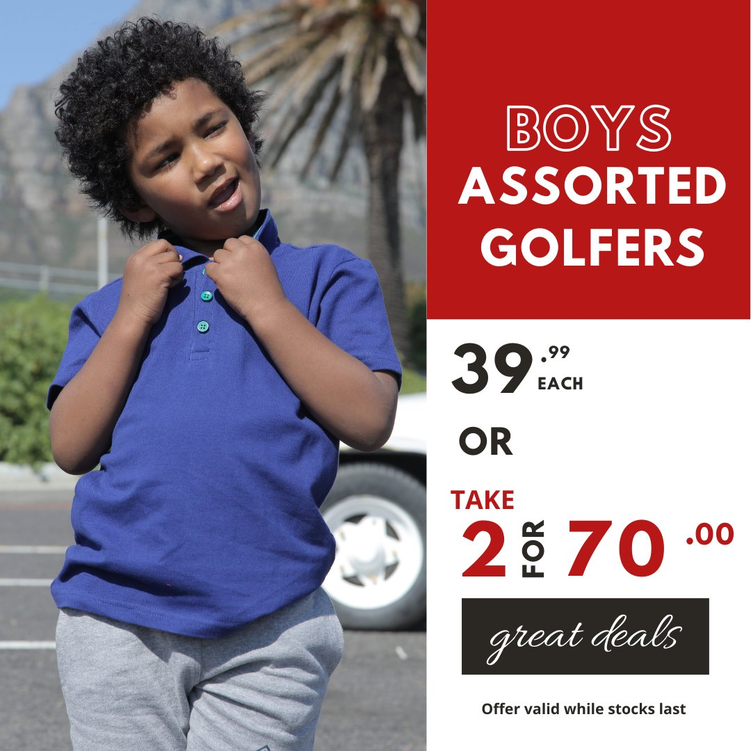 Looking cool everyday is  this easy... Boys Assorted Golfers 39.99 each or TAKE 2 for 70.00 Available in ages 2-8yrs at selected stores #choiceclothing #wearchoice #kidschoice #boysgolfers