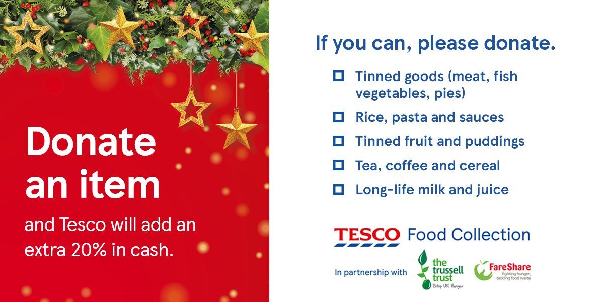 Record numbers of people are needing to use #foodbanks as they struggle to make ends meet. This isn't right. But you can make a difference. Heading out to buy essentials at @Tesco? Then consider donating towards your local food bank's list of most needed items #EveryCanHelps >