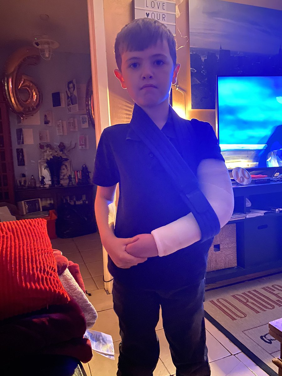 Big brave man broke his arm yesterday and said he was as tough as @CodyRhodes so didn't cry! He did so well at the hospital getting his X-ray. He's hoping Cody will see this and hope he heals quickly. He's a huge AEW fan.