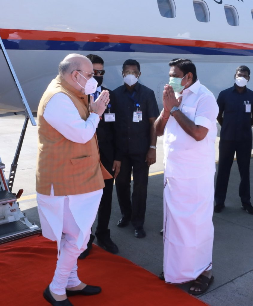 @AmitShah In pictures: The Chief Minister of Tamil Nadu, Shri @EPSTamilNadu and Deputy Chief Minister, Shri @OfficeOfOPS receiving Union Home Minister, Shri @AmitShah at Chennai airport.