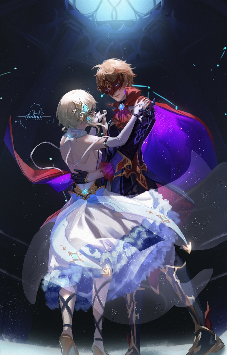 """""""May I have this dance, ojou-chan?""""  Anyone else like Childe in black?   #タル蛍 #chilumi  #GenshinImpact"""