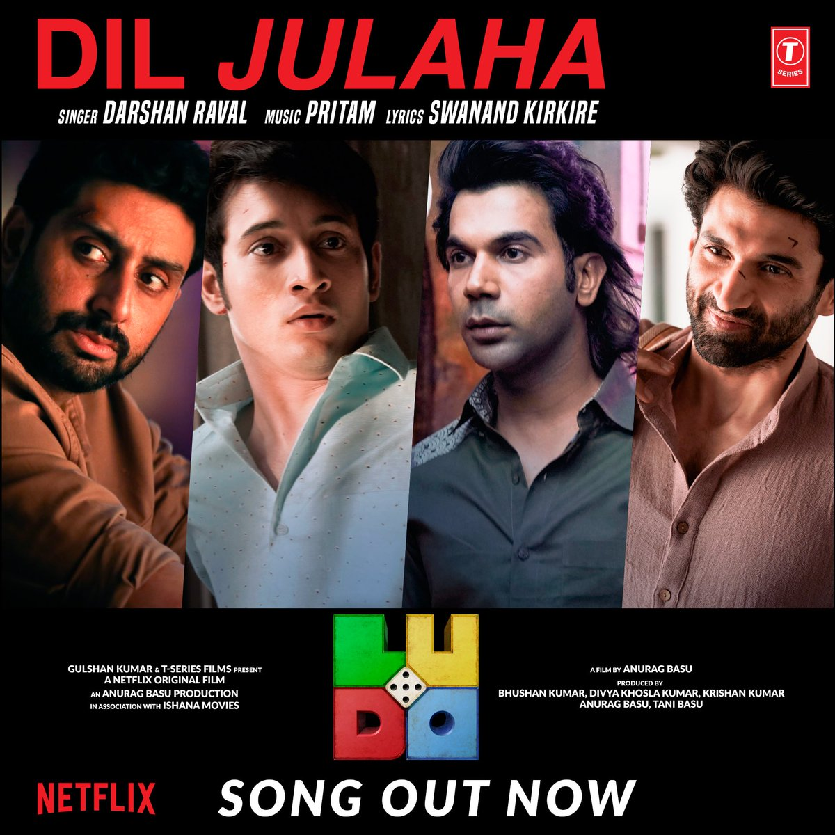 Super excited to announce tht #DilJulaha from my film #Ludo is out! Streaming now  @juniorbachchan #AdityaRoyKapur @TripathiiPankaj @sanyamalhotra07 @fattysanashaikh @Pearle_Maaney #RohitSaraf #InayatVerma @AshaNegi7 @shalinivatsa1 @basuanurag #BhushanKumar