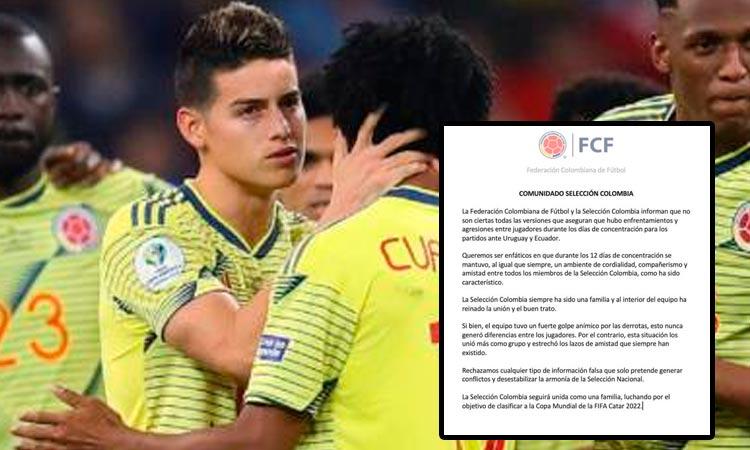 #Deportes ⚽ En medio de las controversias que han generado los rumores de la supuesta división interna entre los jugadores de la Selección Colombia🇨🇴, la Federación Colombiana de Fútbol aclaró la situación.👉https://t.co/PEWU8uipZ5 https://t.co/3SoKTKnLuT