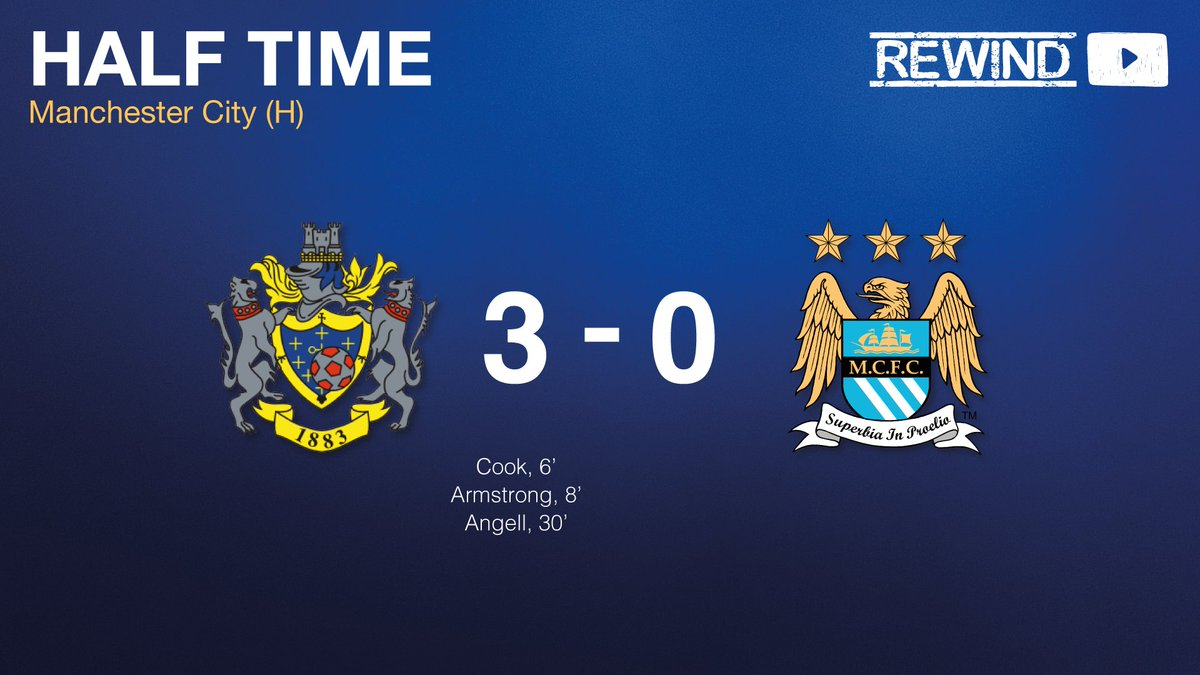 HALF-TIME   County 3-0 Manchester City.  A breathless first-half comes to a close, and just look at that scoreline! 😍   Time now for a five minute break, before the start of the second half, which you can follow over on our YouTube channel. 👉