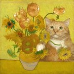 Image for the Tweet beginning: #Caturday Van Gogh-style! Two popular