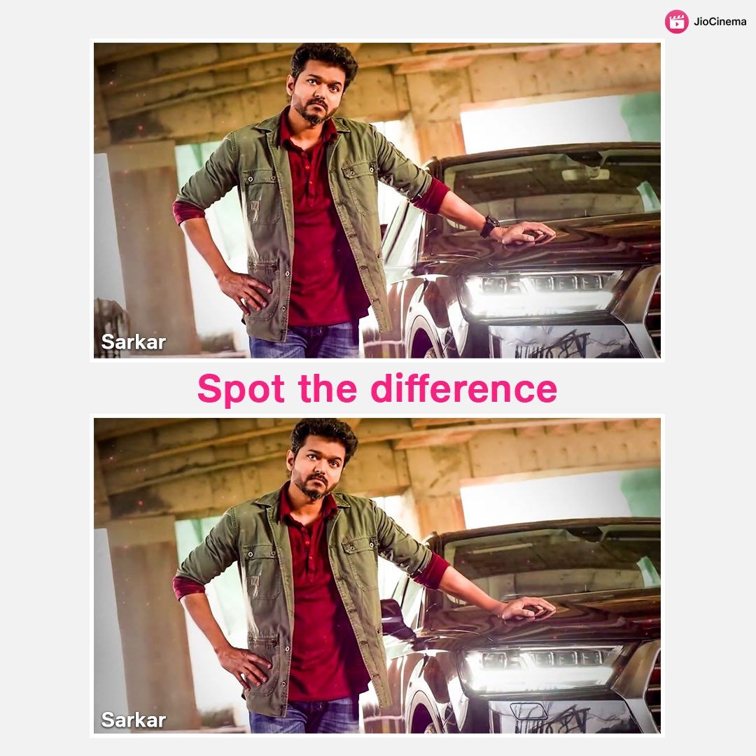 Spot the 5 differences and prove you are a true #Vijay fan 😎  🔁 RT if you love #ThalapathyVijay🥰 #Sarkar is now streaming on #JioCinema 💪🏼 #saturdayvibes #saturdaymood #saturdaythoughts #thalapathy #weekend