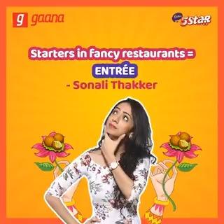 Taza kijiye mehenge restaurants mein khane ke kisse @SonaliThakker ke saath, aur pet bhar ke hasiye #GaanaPodcasts par, #JokeVani ke iss episode mein.   #Eat5StarDoNothing #DoNothing #Cadbury5Star @Cadbury5Star