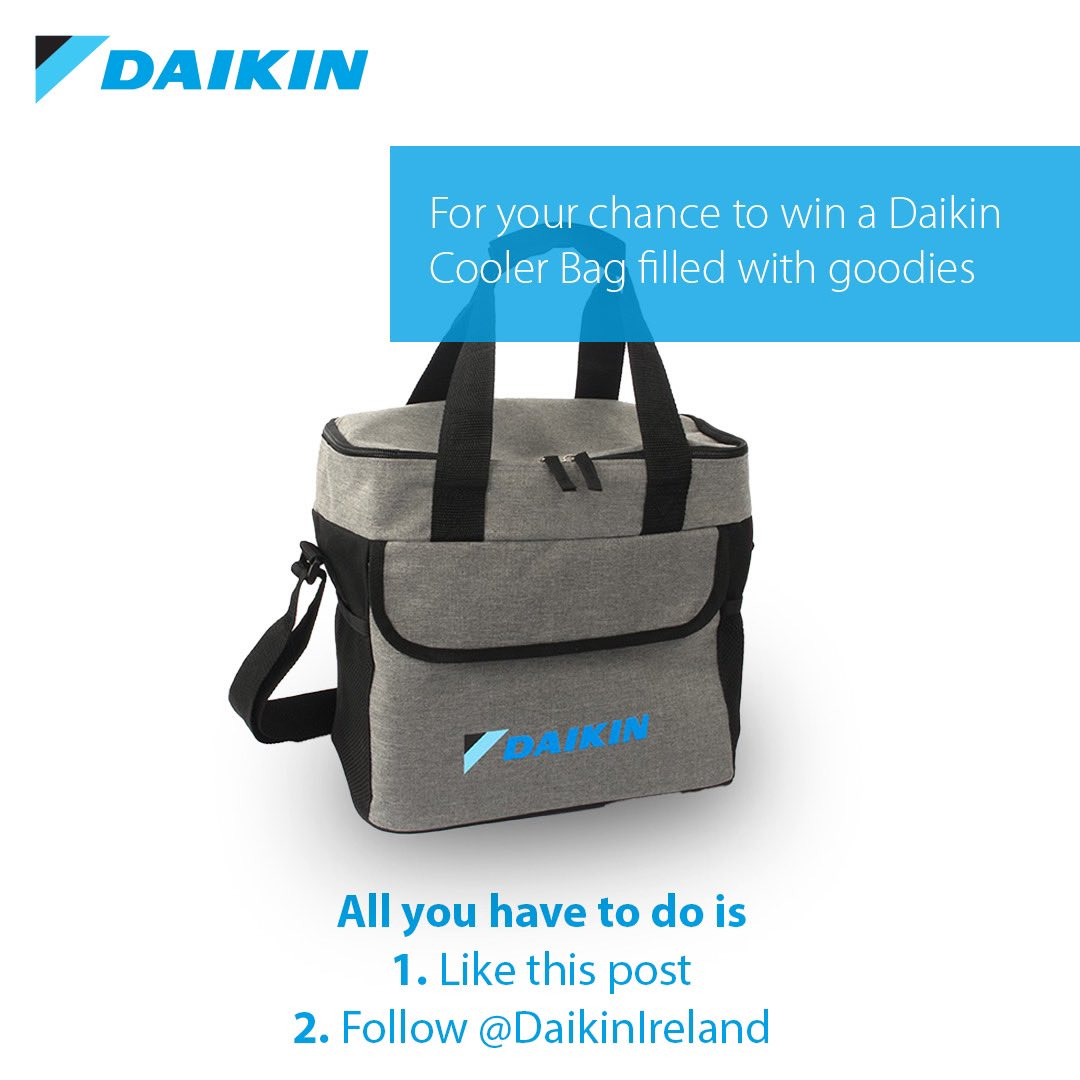 For today's competition we have a Daikin cooler bag filled with goodies up for grabs! For a chance to win all you have to do is 1. Follow @DaikinIreland 2. Like this post Bag contents include:  1x Daikin Mask 1x tablet cover 1x tub of sweets 1x notebook and pen 1x carphone holder https://t.co/MsqTergyaq