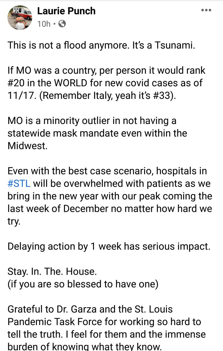 From a St Louis surgeon. Please, if you can -- stay home. Try your best. Our region is in trouble and December will be dire.