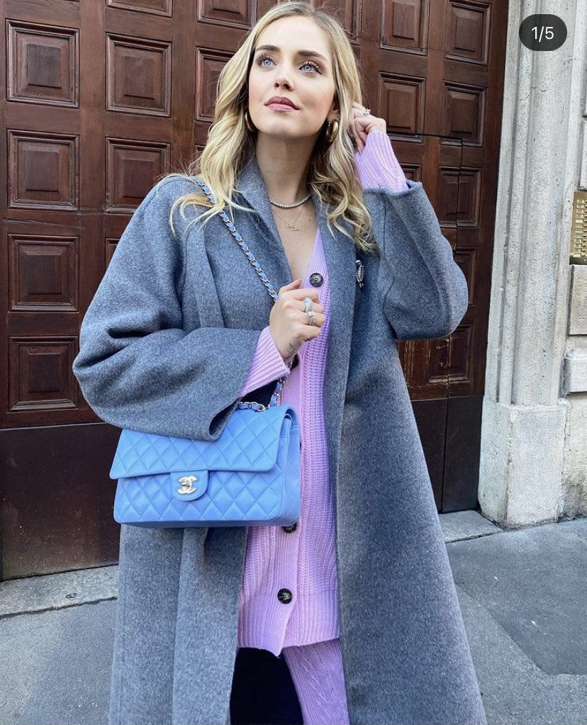 Super @ChiaraFerragni in Chanel #today , wearing the colors of this winter 💜💙 #influencer #chiaraferragni #2020 #colors #COLORs2020