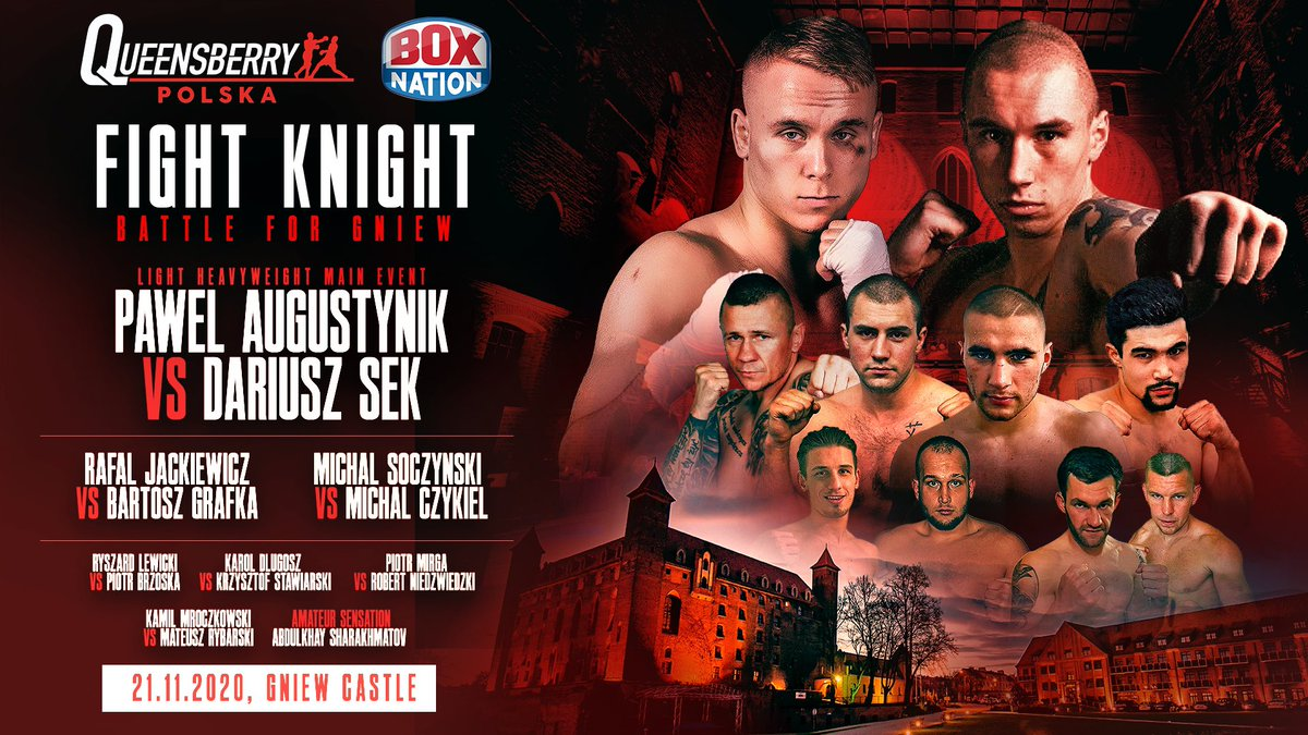 👊💥 #LIVE Boxing tonight.   🇵🇱 Coverage of Queensbury Promotions first event in Poland as British junior champion Pawel August meets experiences Dariusz Sek.   ⏰ Live from 9pm 📺 BoxNation https://t.co/M2OQwPnBwE
