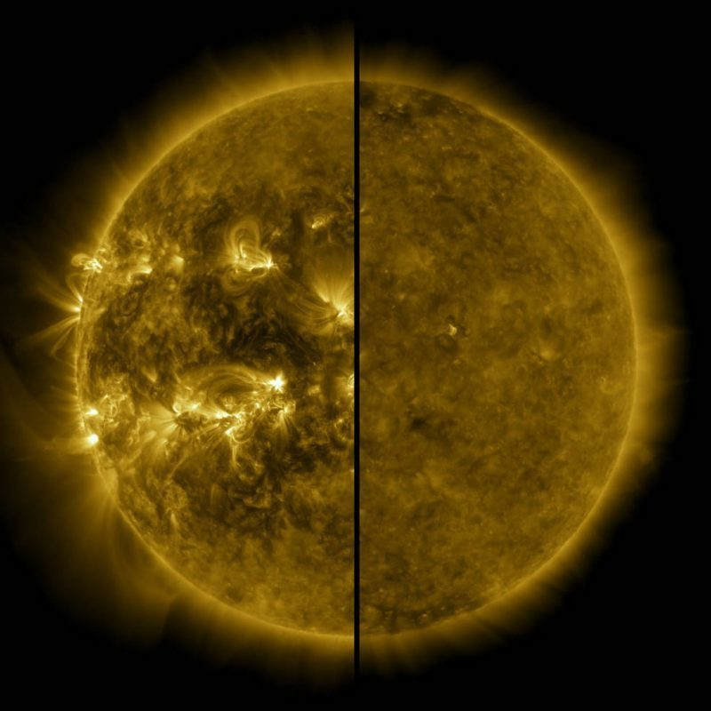 Olá humanos...  Esta imagem dividida mostra a diferença entre o Sol ativo durante o máximo solar (à esquerda, capturado em abril de 2014) e o Sol tranquilo durante o mínimo solar (à direita, capturado em dezembro de 2019).   Créditos: NASA / Solar Dynamics Observatory (SDO). https://t.co/6arK9TeIW7