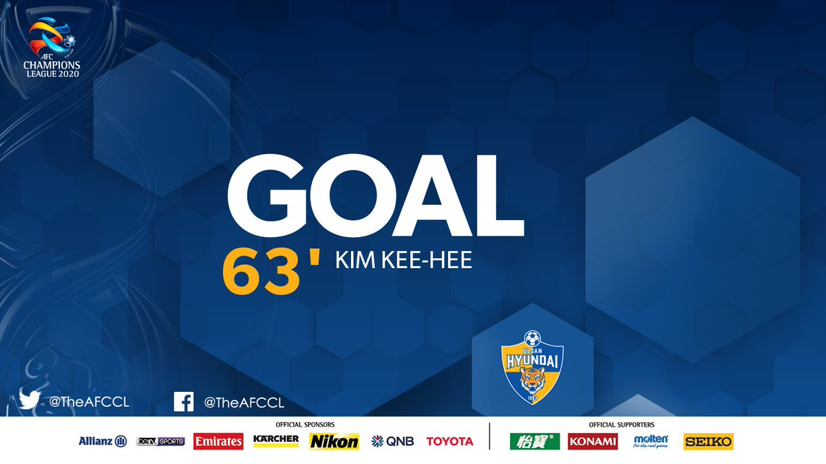 GOAL! | 🇰🇷 @ulsanFC 3-0 Shanghai Shenhua 🇨🇳  3⃣🆙 Ulsan starting to run away with it as Kim Kee-hee's flicked header finds its way into the back of the net.   #ULSvSHE | #ACL2020