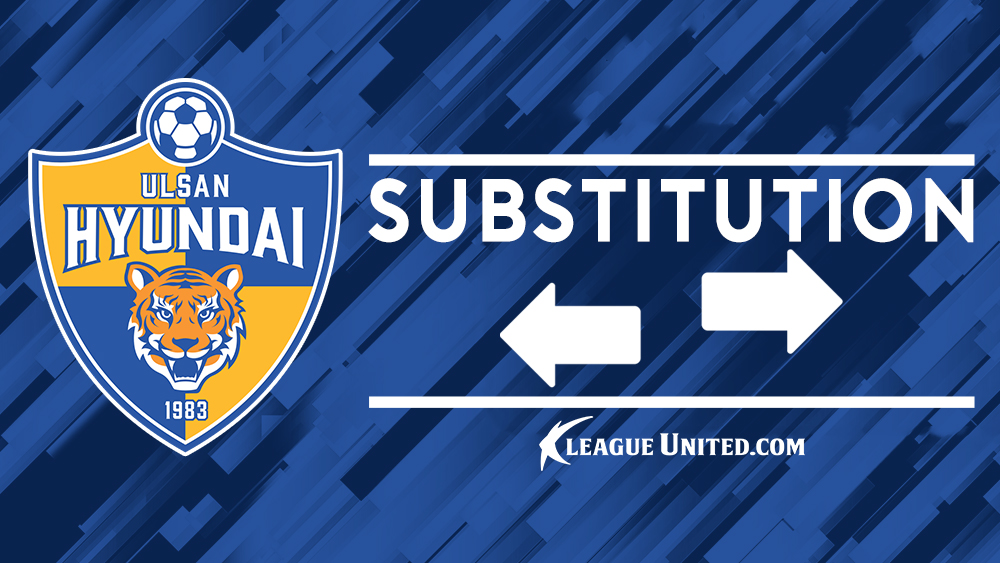 Double substitution for Ulsan just after the hour mark.  OUT: Lee Sang-heon, Lee Chung-yong  IN: Lee Keun-ho, Kim Sung-jun #ULSvSHE #ACL2020