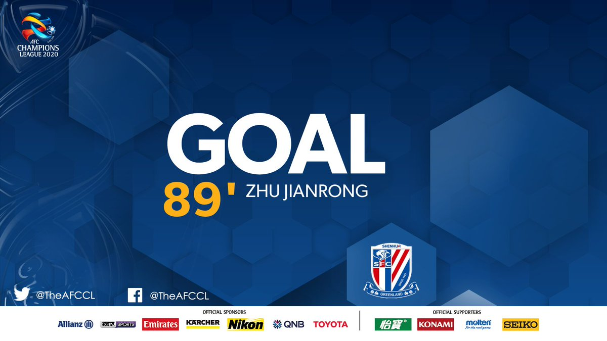 GOAL! | 🇰🇷 @ulsanFC 3-1 Shanghai Shenhua 🇨🇳  💥 Zhu Jianrong with a powerful header to the top corner to get Shanghai on the board late.   #ULSvSHE | #ACL2020