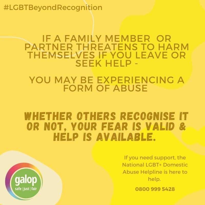 Whether others recognise it or not, your experience is valid & help is available. #LGBTBeyondRecognition #16Days