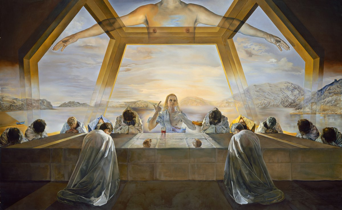 """Surrealism is destructive, but it destroys only what it considers to be shackles limiting our vision."" -Salvador Dalí  🖼 Salvador Dalí, ""The Sacrament of the Last Supper,"" 1955, oil on canvas, 65 5/8 x 105 1/8 in ✨ https://t.co/jOuFVwAuCY"