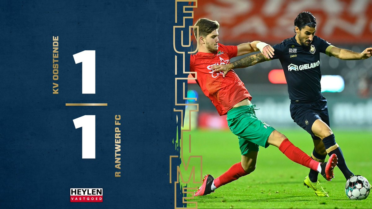 KV Oostende 1-1 R.Antwerp 🇧🇪  #KVOANT https://t.co/OeKWDN0ZtD