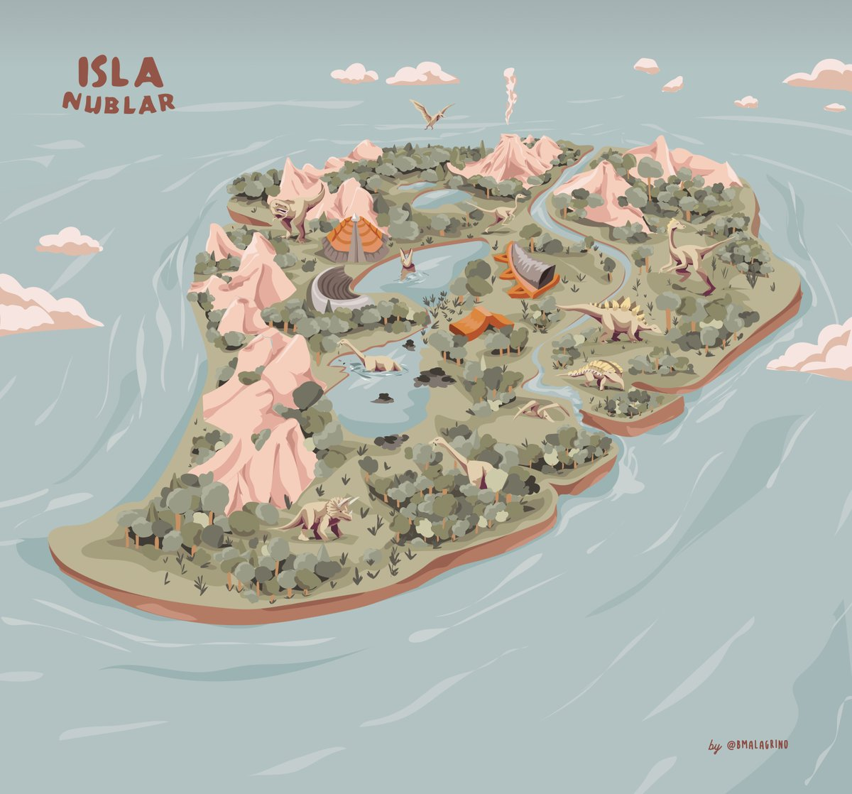 """An incredible idea for a gift this holiday season is a beautifully illustrated map made custom on Fiverr.  We challenged """"Bruno_Malagrino"""" to make a map of the island of  """"Isla Nublar"""" from Jurassic Park, and he did not disappoint.  https://t.co/fWwyJKl3sh https://t.co/f6TfoCAZsN"""