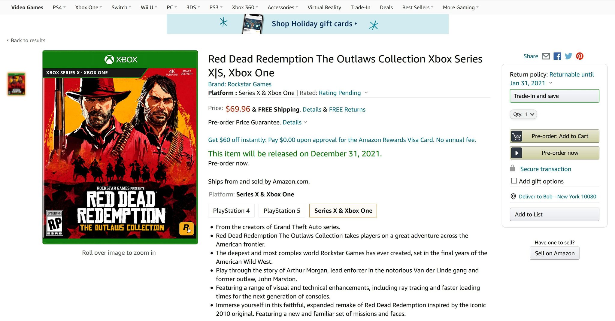 Filtrado Red Dead Redemption: The Outlaws Collection para Xbox Series X|S